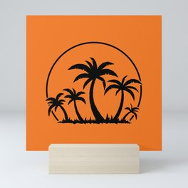 Palm Trees And Sunset in Black Mini Art Print