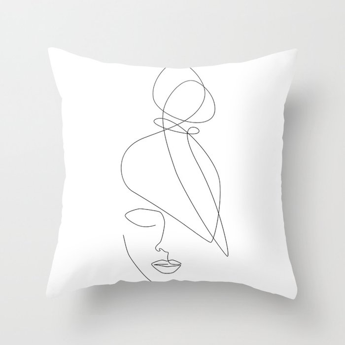 Hairstyle Lines Throw Pillow