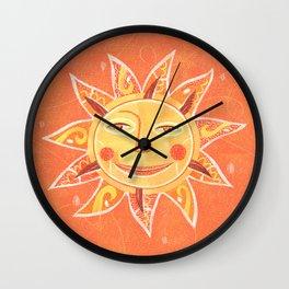 Orange Smiling Sun Face Wall Clock