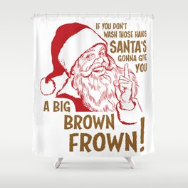 Secret Santa Brown Frown Shower Curtain