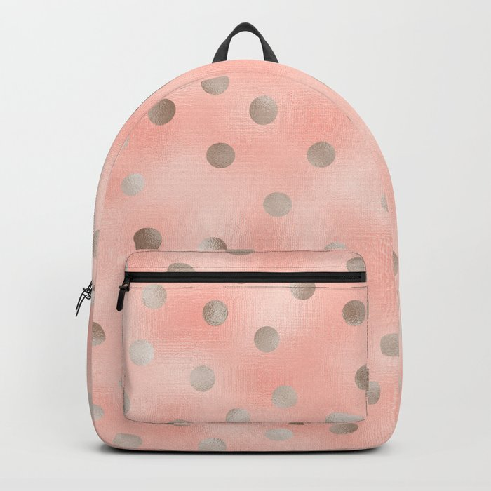 Rosy silver polka dots Backpack