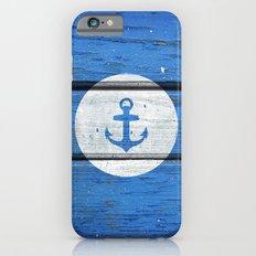 Nautical White Anchor on Vintage Blue Wood Panels iPhone 6s Slim Case