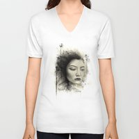 lorde V-neck T-shirts featuring Lorde by Creadoorm