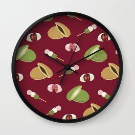 Japanese sweets (Burgundy) Wall Clock
