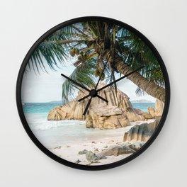 Paradise beach La Digue Seychelles  Wall Clock