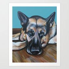 Merlin the German Shepherd Art Print