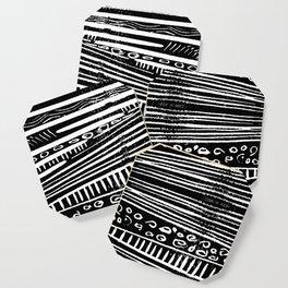 Linocut Tribal Pattern Coaster