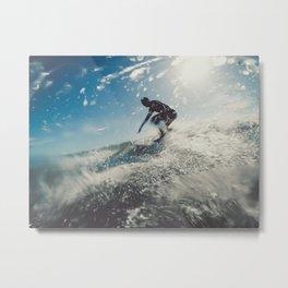 Man surfing in back light Metal Print