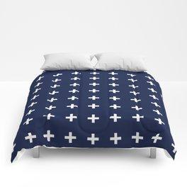 Navy Blue Swiss Cross Minimal Comforters