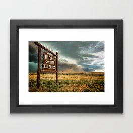 Colorful Colorado - Storm Advances Past Colorado State Line Sign Framed Art Print