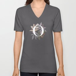 Rustic Initial O - Watercolor Letter Branches and Leaves Unisex V-Neck