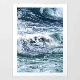 Blue Sea Ocean Waves Art Print