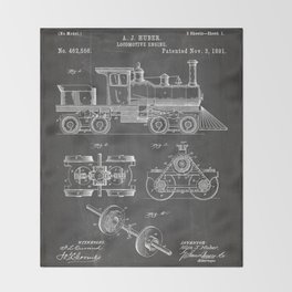 Train Locomotive Patent - Steam Train Art - Black Chalkboard Throw Blanket