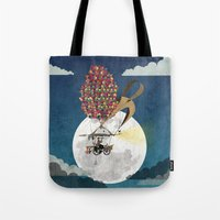 brompton Tote Bags featuring Flying Bicycle by Wyatt Design