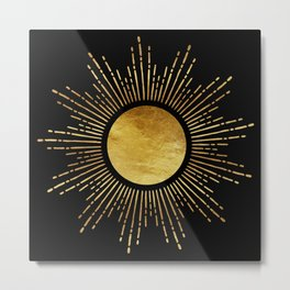 Golden Sunburst Starburst Noir Metal Print