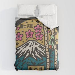Japan manhole fuji sakura Comforters