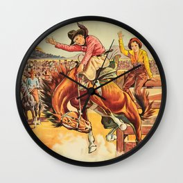 Vintage Western Rodeo Cowboy On Bucking Horse Wall Clock