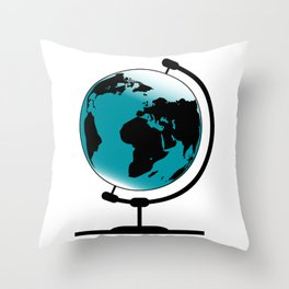 Mounted Globe On Rotating Swivel Throw Pillow