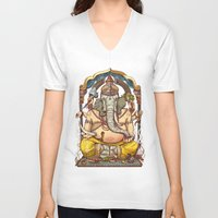 ganesha V-neck T-shirts featuring Ganesha by Pirates of Brooklyn