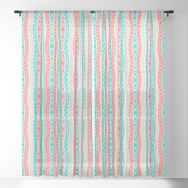 Mosaic Wavy Stripes in Coral, Tan and Turquoise Sheer Curtain