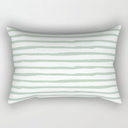 Elegant Stripes White and Pastel Cactus Green Rectangular Pillow