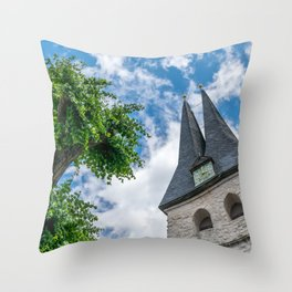 Tree & Bell Tower Throw Pillow