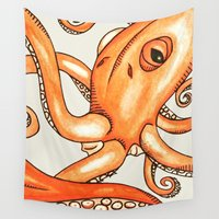 octopus Wall Tapestries featuring Octopus  by Dylan Morang