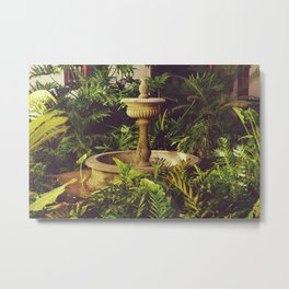 Patio Andaluz - Old fountain and tropical plants in a garden - Fine Art Travel Photography Metal Print