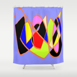 Multicolor blue ign Shower Curtain