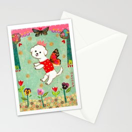 Bichon Frise Flower Fairy Dog sweet mixed media artwork by Tascha Stationery Cards