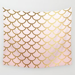 Pink Gradient And Gold Foil MermaidScales - Mermaid Scales Wall Tapestry