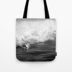 Lone Surfer in Black and White Tote Bag