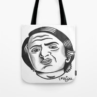 carl sagan Tote Bags featuring Carl Sagan by @VEIGATATTOOER