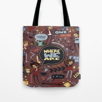 cargline Tote Bags featuring WWA Poster by cargline