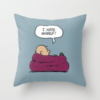 "charlie brown Throw Pillows featuring Charlie Brown ""I Hate Myself"" Quote by TOM / TOM"