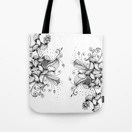 Floral Abstract Ink Art Tote Bag
