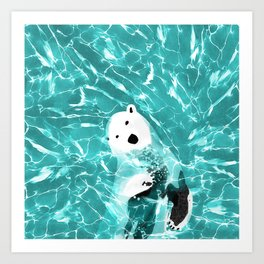 Playful Polar Bear In Turquoise Water Design Art Print