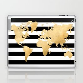 Gold world map black and white stripes Laptop & iPad Skin