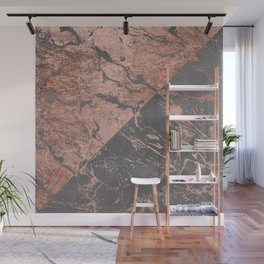 Modern rose gold marble inverted color block grey cement concrete Wall Mural