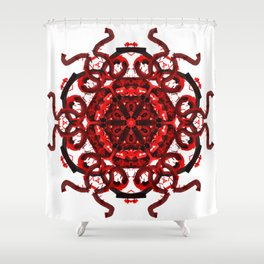 Red Abstract Mandala Star Shower Curtain