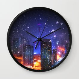 Snow Envelopes the CN Tower in Toronto Wall Clock