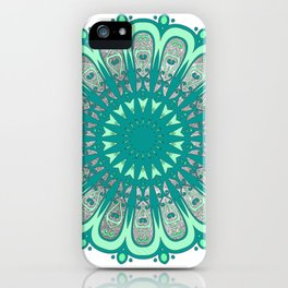 Minty Fresh Mandala - Mint, Teal, and Sparkly Silver iPhone Case