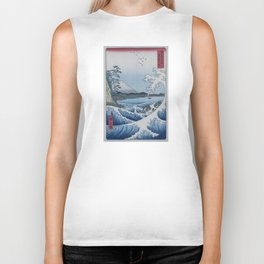 Sea Off Satta - Japanese Woodblock Print by Hiroshige Biker Tank