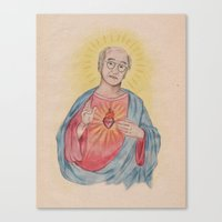 larry david Canvas Prints featuring Larry David Our Saviour by Laura Francis Design