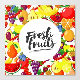 Fresh fruits. Background with juicy ripe fruit and berries , round composition, lettering. Canvas Print