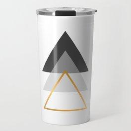 Triangles art, Black, white and gold Travel Mug