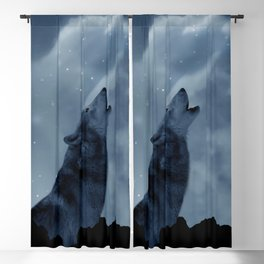 Wolf howling at full moon Blackout Curtain