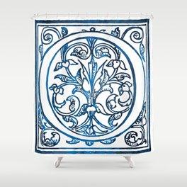 Letter O Antique Floral Letterpress Shower Curtain
