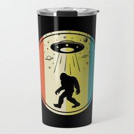 Bigfoot alien saucer retro sunset Travel Mug