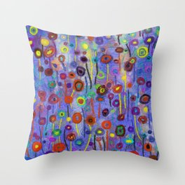 Abstract Flowers Wild Throw Pillow